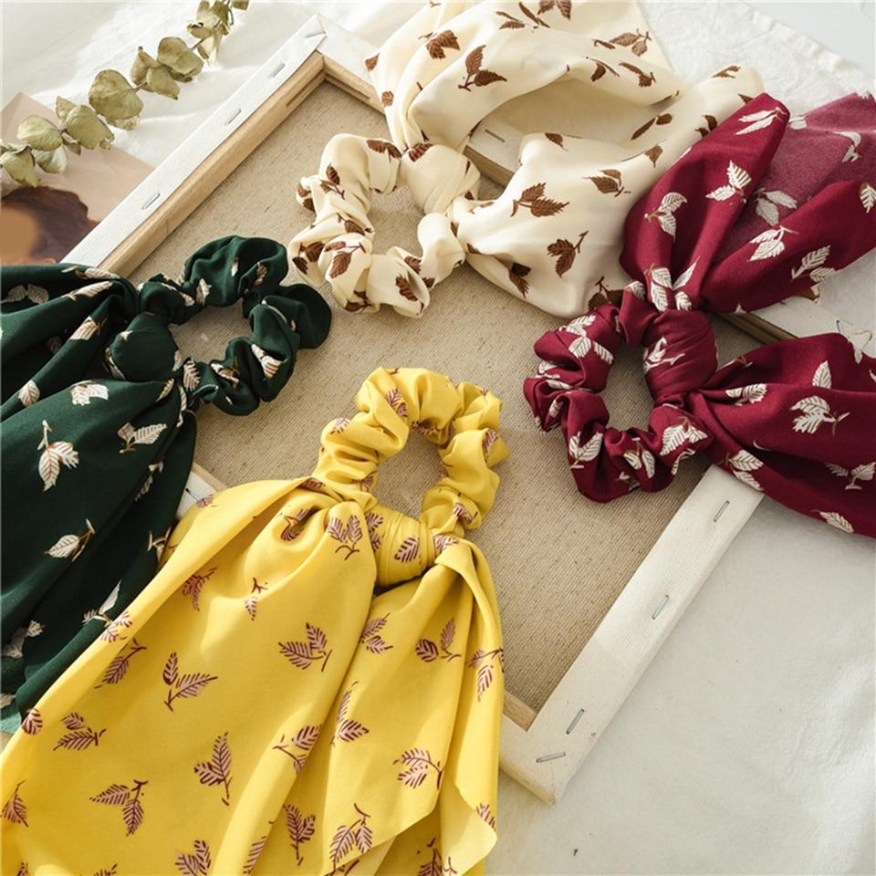 Tree Leaf Streamers Scrunchies Bow Ribbon Hair Ties Hair Scarf Elastic Hair Rope