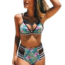 Bikini Bikinis Push Up 2019 High Waist Swimsuit Women Fitness Swimwear Green Floral Retro Bathing Suit Swimming Suit For Woman