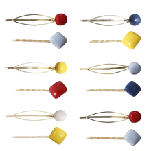 Female Colorful Geometric Ball Square Shape Metal Hair Clips Sweet Girl Hairpins Hollow Hairgrips Accessories