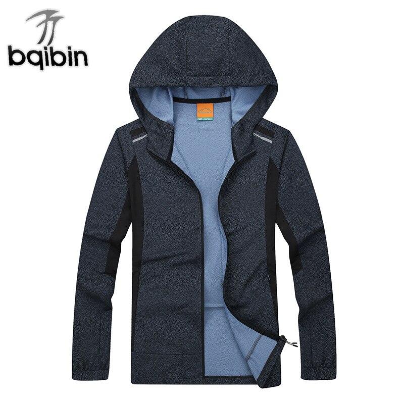 Быстросохнущая тонкие весенние осенние куртки Для мужчин плюс Размеры 8XL Soft Shell ветрозащитный свободные куртки-бомберы ветровка с капюшоно...