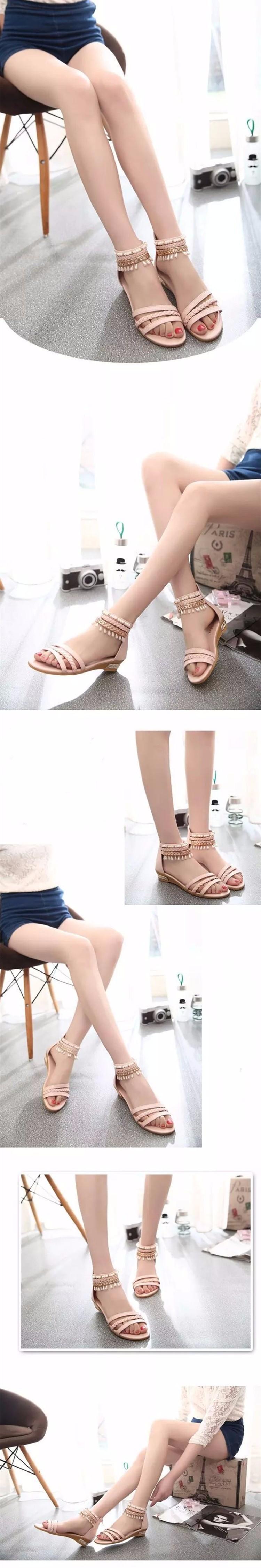 Hot Sale 2016 Summer Sweet Fashion Roman Beads Woman Sandals Leisure Peep Toe Wedges Shoes Wild Comfortable Ladies Sandals DT141 (6)