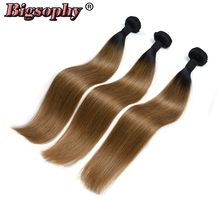 Bigsophy Hair Brazilian Hair Weave Bundles Straight Pre-Colored 3pcs Human Hair Extension 2 Tone Ombre Color 1B/27 Remy Hair linlin hair pre colored ombre blonde indian straight hair weave 3 bundles 1b 27 non remy indian 100% human hair rollers