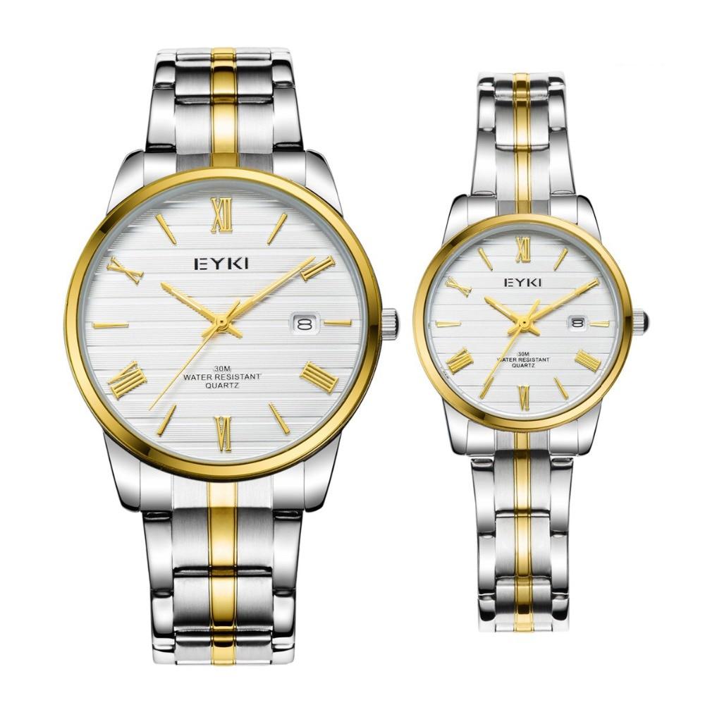 EYKI Meskie Zegarki Lovers Watches Clock Waterproof Gold Men