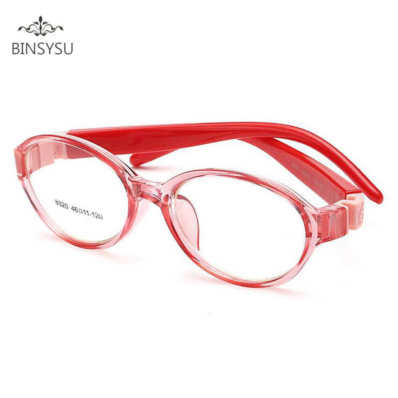 Kids Optical Eyeglasses Ultra-light Oval No Screw Bendable, Children Glasses Frame, Silicone Safe Flexible Frame