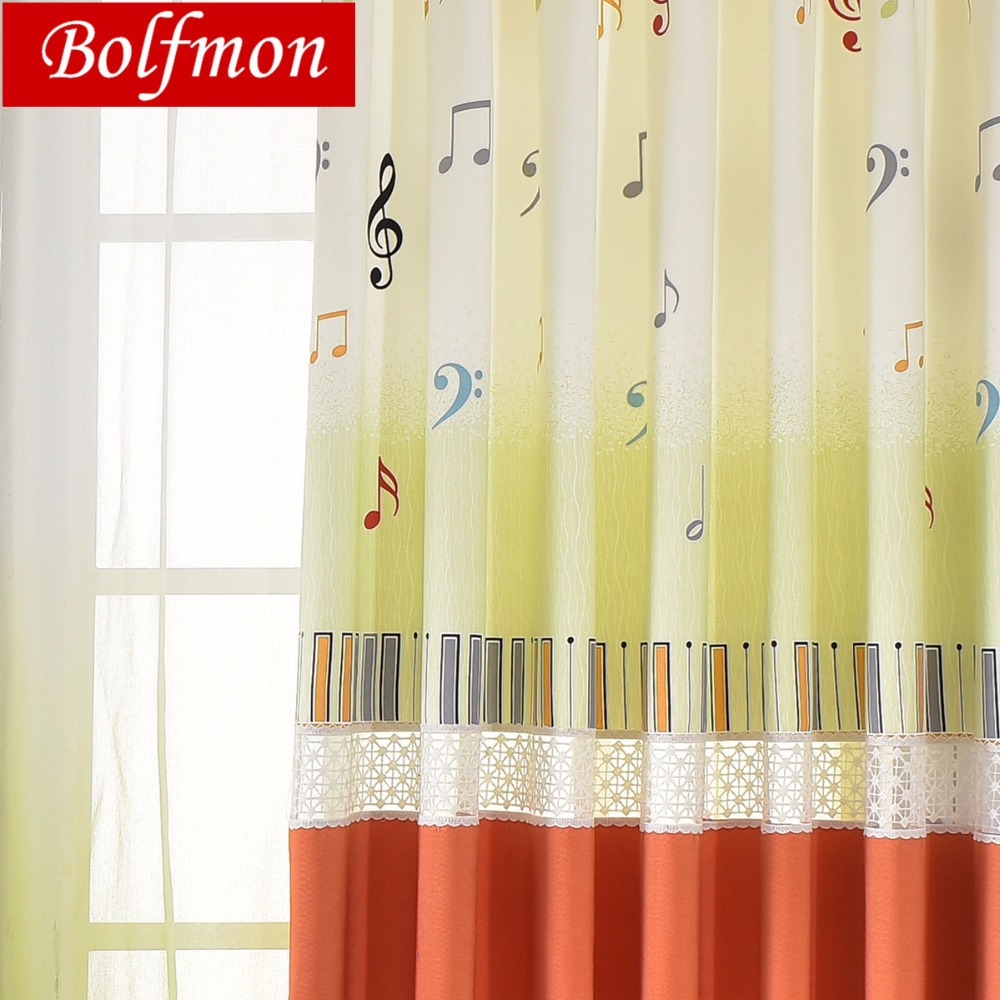 €7.27 30% de réduction|Dernières Notes de musique Piano broderie rideaux de  fenêtre pour les filles chambre Decro vert Orange traitement de fenêtre ...