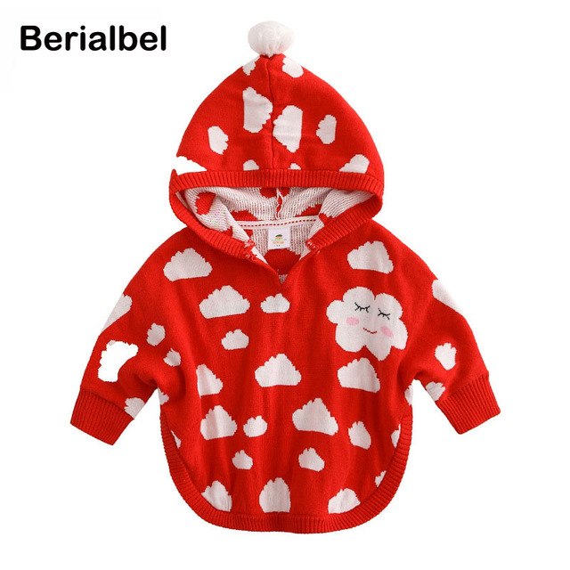 Baby Girls Knit Hooded Cloak Winter Thick Cape Jacket Outwears Fashionable Children Clothing Toddler Coat