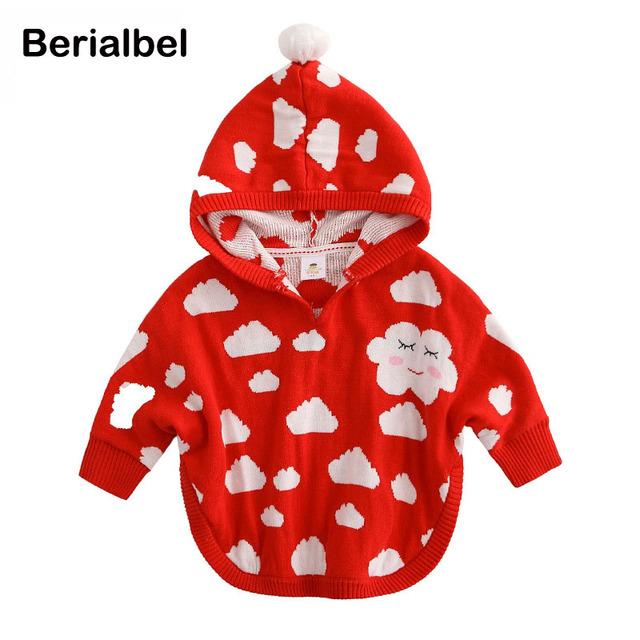 Meninas do bebê de malha com capuz casaco de inverno capa grossa jaqueta outwears crianças moda clothing casaco da criança