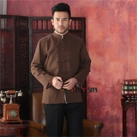 Free Shipping High Quality Coffee Men S Tang Suit Classic Chinese Style Top Hidden Dragon Jacket