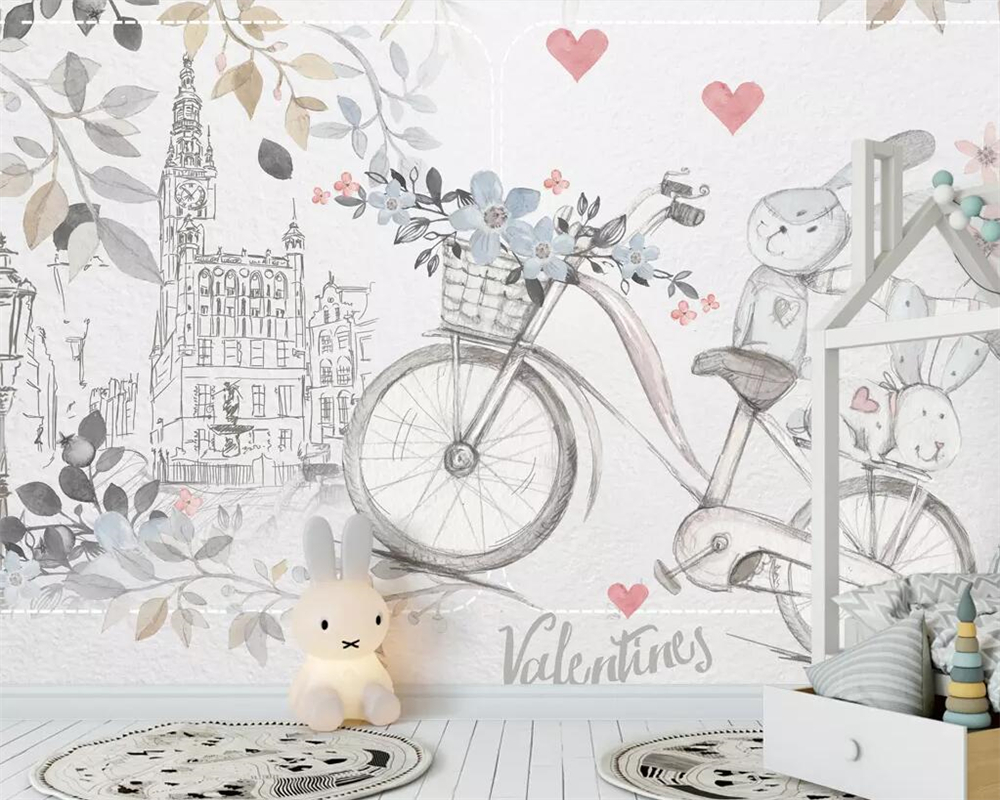 Beibehang Custom wallpaper simple card can hand painted cute animal bicycle love children s room background