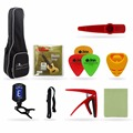 Set of 23'' / 26'' Ukulele Bag Digital Tuner Ukulele Strings Picks Holder Picks Strap Capo Clear Cloth Kazoo for Beginner