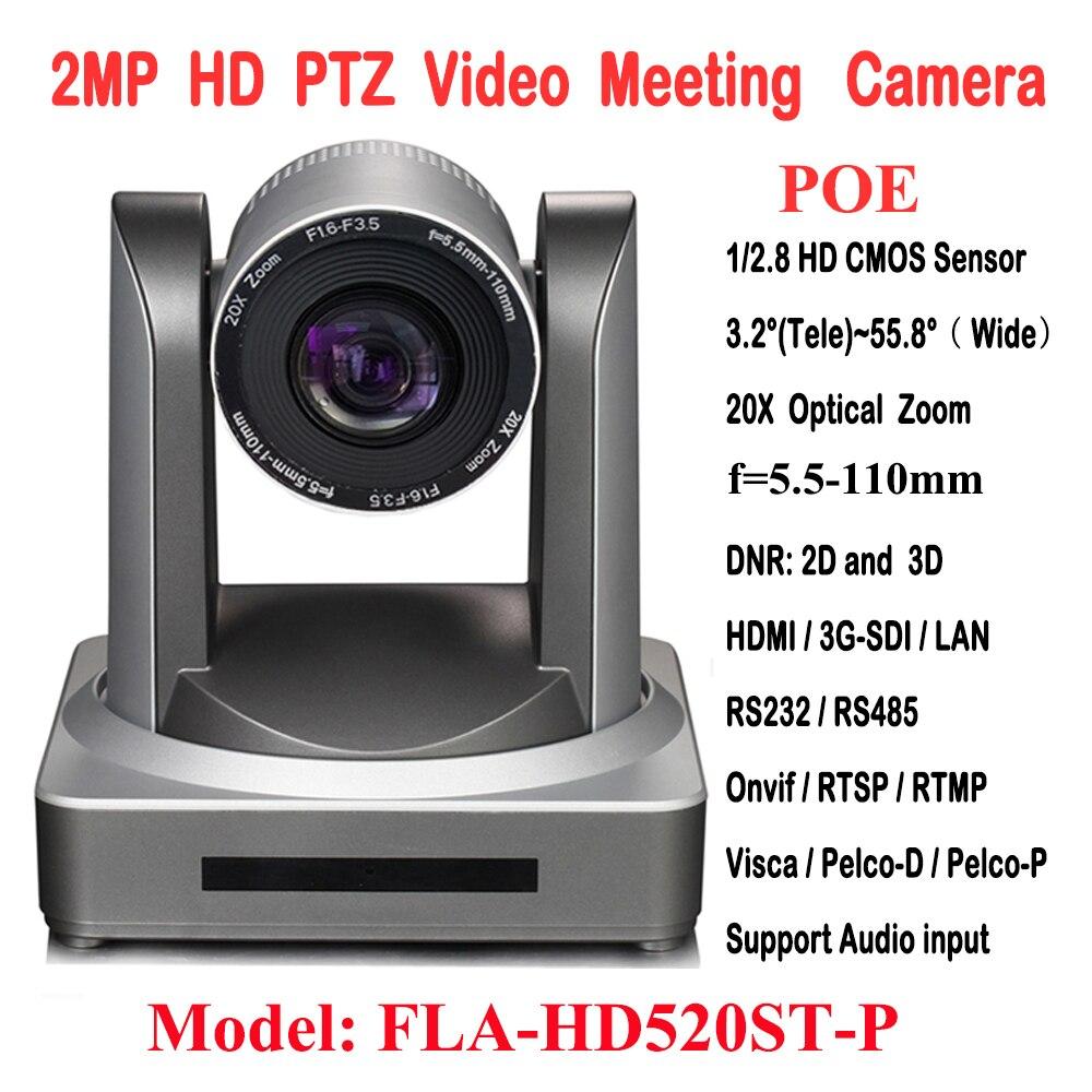 2MP 1080P60/50 PTZ IP Streaming Onvif POE Caméra Visca Pelco 20X Optique Zoom Trépied avec Simultanée HDMI et 3G-SDI Sorties