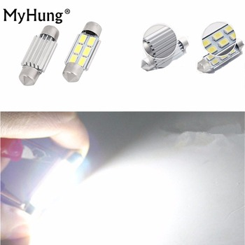 2Pcs 36mm No Error Car License Plate LED Light Bulbs Lamp C5W For Volkswagen VW JETTA GTI GOLF RABBIT MK4 MK5 PASSAT B5 B6 Auto image