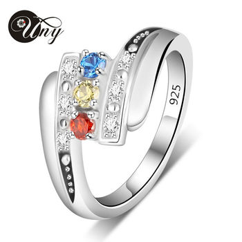 UNY Ring Mother Personalized Rings Anniversary Gifts Birthstone Ring 925 Silver Customized Engrave Family Heirloom Promise Rings
