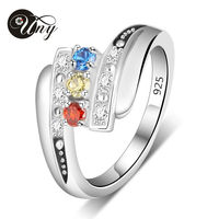 UNY Mother S Personalized Special Anniversary Gift Birthstone Ring With Accents In Sterling Silver 3 Stones