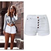 2017 New Vogue Women Brand Clothing Pure White Shorts High Waist Slim Stretch Short Button Cuffs