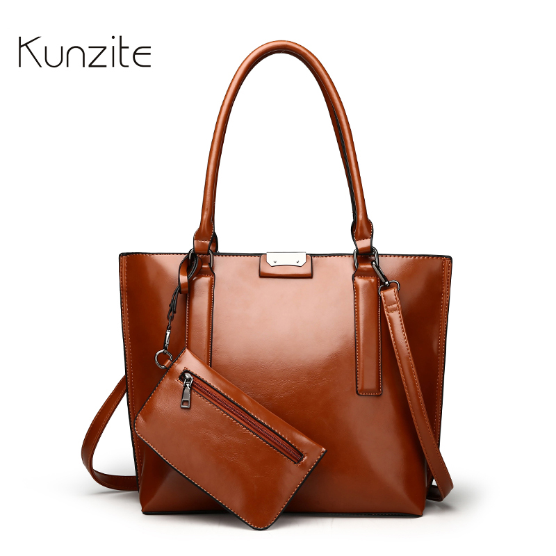 KUNZITE Luxury Leather Handbags For Women Large Capacity Tote Bag Fashion Designer Female Daily Portable Bag Black Messenger Bag-in Top-Handle Bags from Luggage & Bags    1