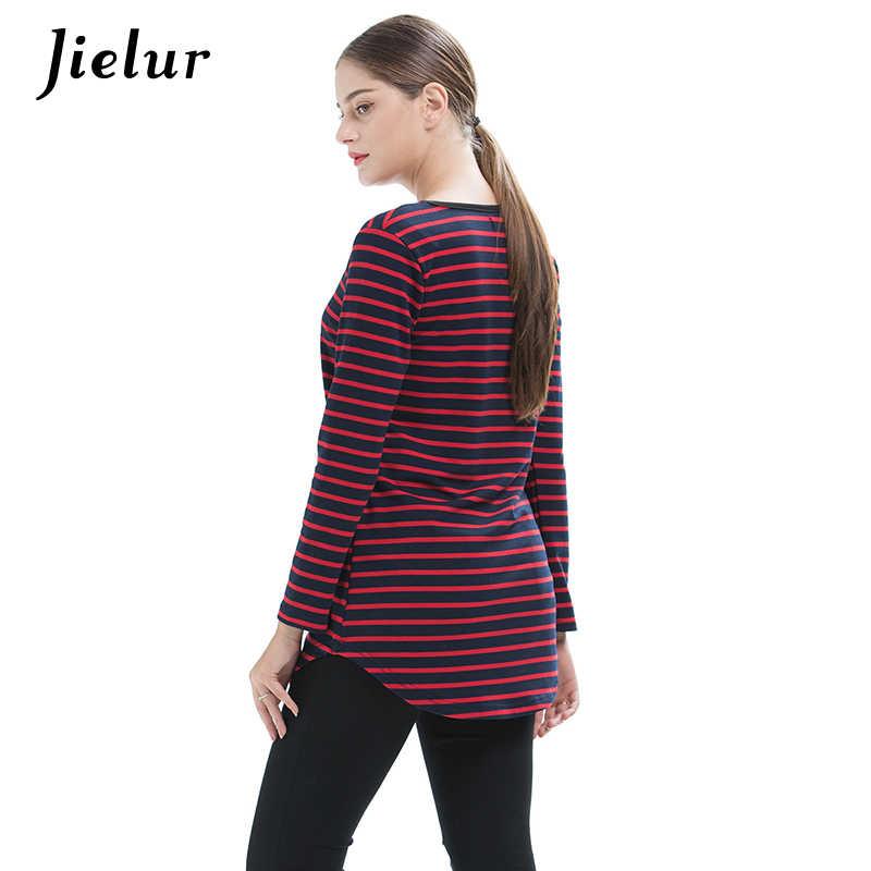 Jielur 2019 Весенние женские футболки с длинными рукавами больших размеров черного и красного цвета простая футболка в полоску с v-образным вырезом для девочек модные свободные топы S-4XL