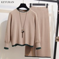 Plus Size XXXXL Women Sweater Tops and Skirt Suits Long Sleeve Pullovers Elegant Woman Knitted Jumpers Skirts 2 Two Piece Set