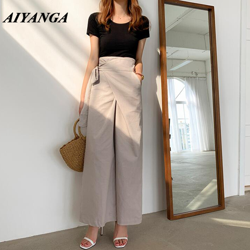 Wide Leg Pants Women 2019 Summer Autumn Linen Pant Casual OL Irregular Sashes High Waist Work Pants Trousers Korean Style Women