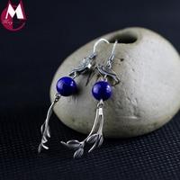 100% 925 Sterling Silver Earrings For Women Vintage Ethnic Birdie Fine Tree Branch Leaves Long Lapis Tassel Earring Jewelry SE97