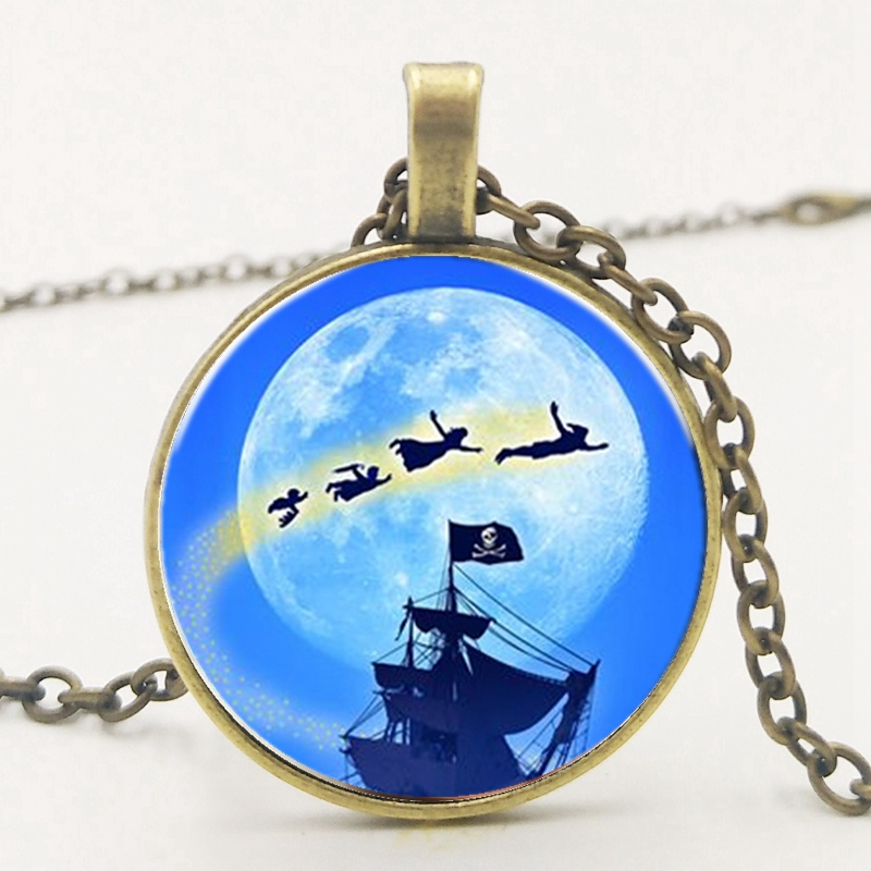3 Colors Moonlight Flying Magic Witch Pirate Ship Pendant Necklace Fashion Glass Gem Accessories To Map Custom in Pendant Necklaces from Jewelry Accessories