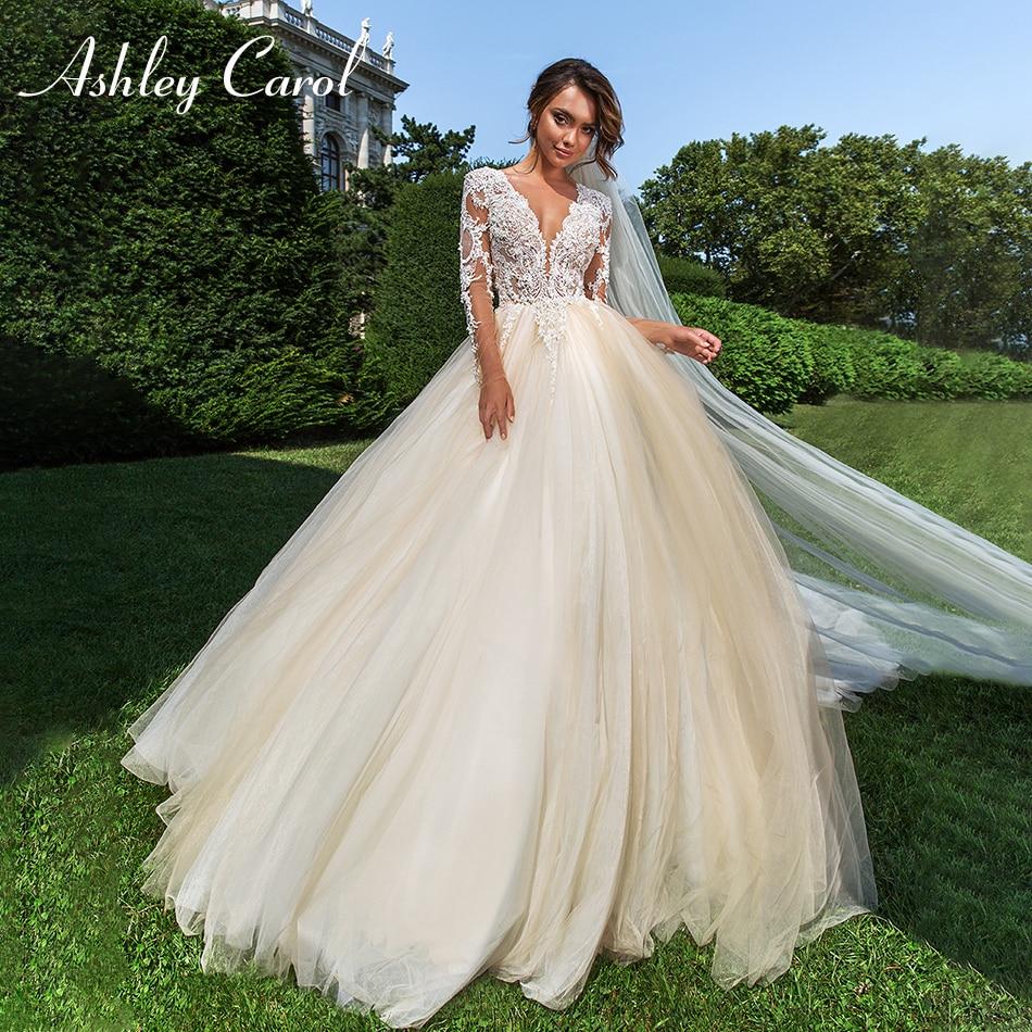 Ashley Carol Sexy V-neckline Long Sleeve Illusion Back Wedding Dress 2019 Tulle Bride Dresses Court Train Princess Wedding Gowns