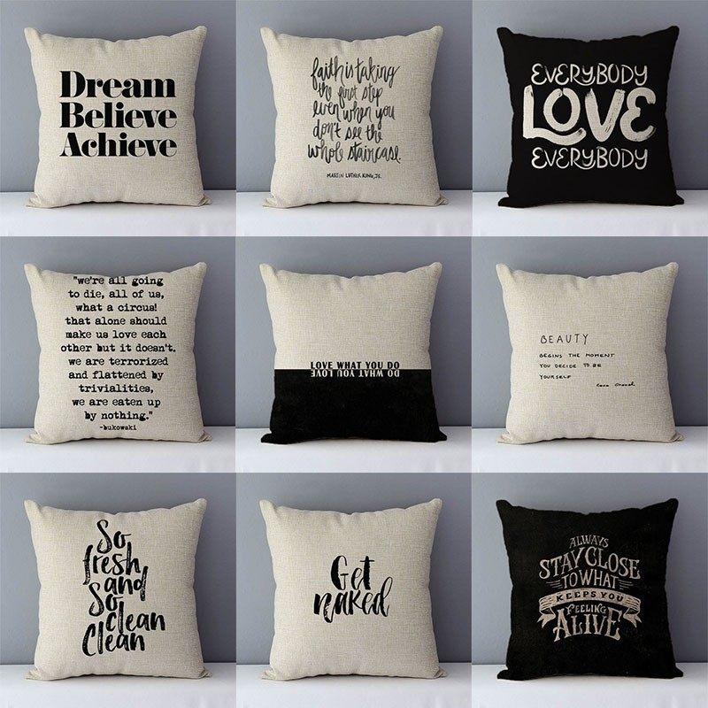 Dream Believe Achieve Letters Printed Quality Cushion Cover Home Decorative Pillows 45x45cm Pillowcase Cotton Linen For Couch D5