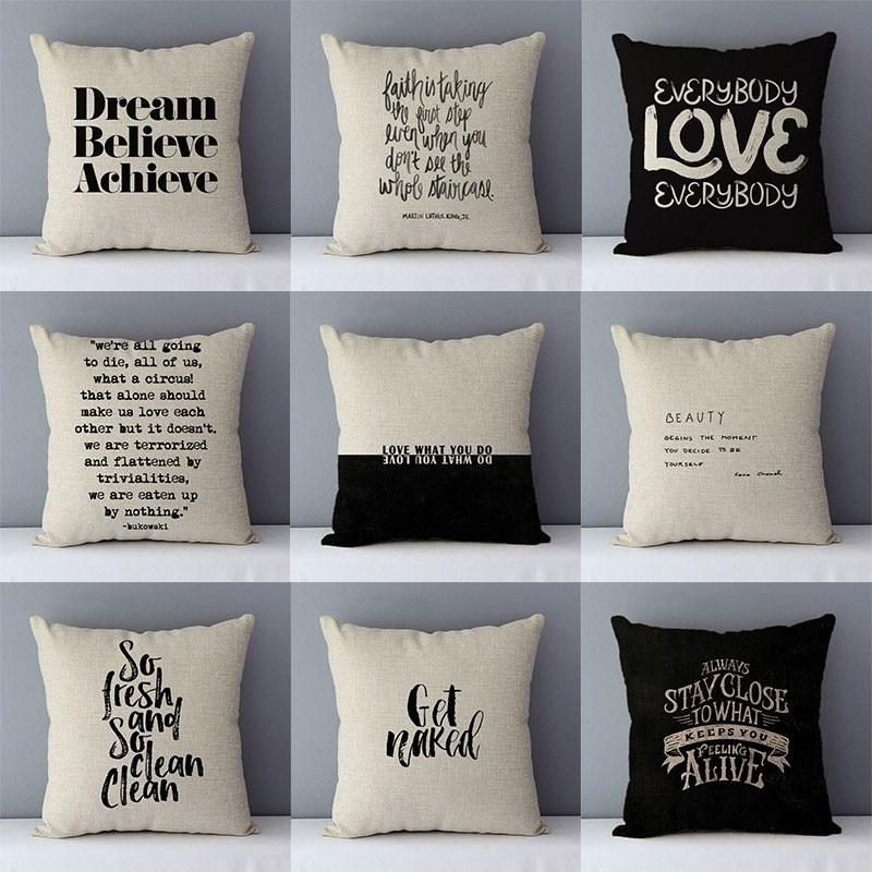 Dream Believe Achieve Letters Printed Quality Cushion Cover Home Decorative Pillows 45x45cm Pillowcase Cotton Linen For Couch D5