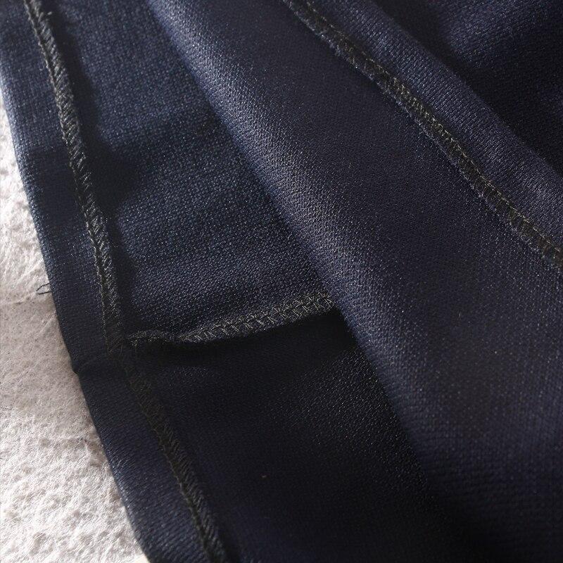 Femmes Naturel Casual longueur Col 2018 Turn A Nouveau down Solide Appliques Robes Poignet Genou Mode Hiver Blue ligne Manches Samgpilee 7by6YfgvI