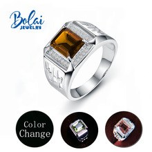 Bolaijewelry, erkek Zultanite renk değiştirme yüzük 925 ayar gümüş diaspore için güzel takı daha koca en iyi hediye