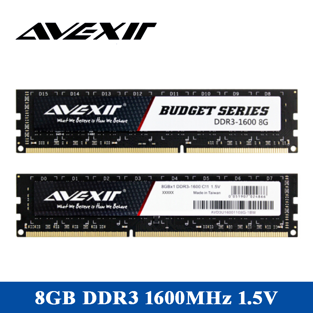 AVEXIR RAM DDR3 4GB / DDR3 8GB Memory Frequency 1600MHz 1.5V Desktop memory Interface Type 240pin 11-11-11-28 CL=11 Single RAMs