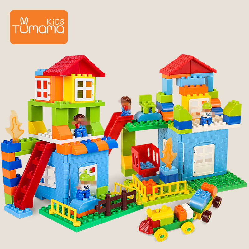 76PCS DIY City House Roof Robot Big Size Building Blocks Castle Educational Toy For Children Compatible LegoINGlys duploed Slide76PCS DIY City House Roof Robot Big Size Building Blocks Castle Educational Toy For Children Compatible LegoINGlys duploed Slide