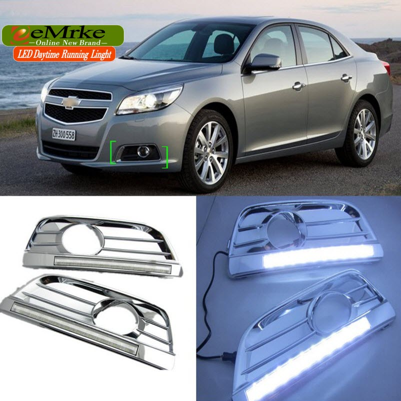 eeMrke Car LED DRL For Chevrolet Malibu 2013-2016 High Power Xenon White Fog Cover Daytime Running Lights Kits  недорого