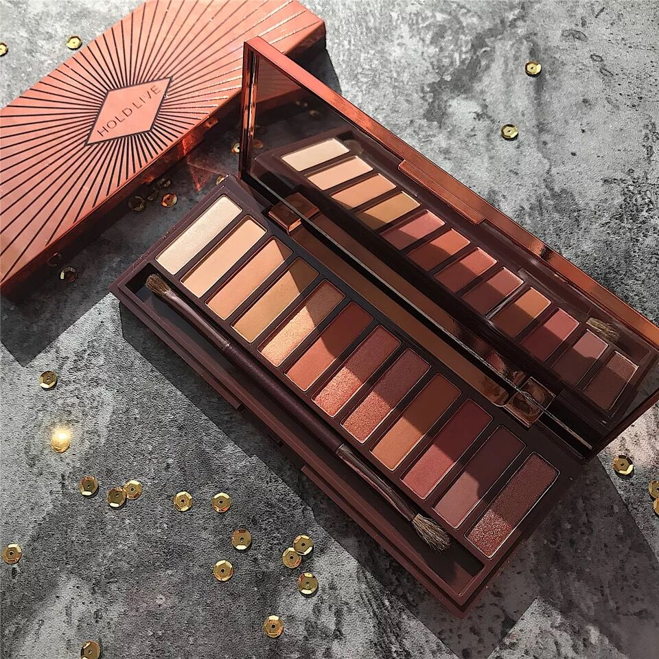 Hold live Brand New 12 Colors Molten Rock Heat Eye Shadow Makeup Palette Shimmer Matte Nude Brown Red Warm Orange Eyeshadow Kits