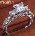 Vecalon Romântico Do Vintage Feminino anel de Três-pedra Simulado diamante Cz 925 Sterling Silver Engagement wedding Band anel para mulheres