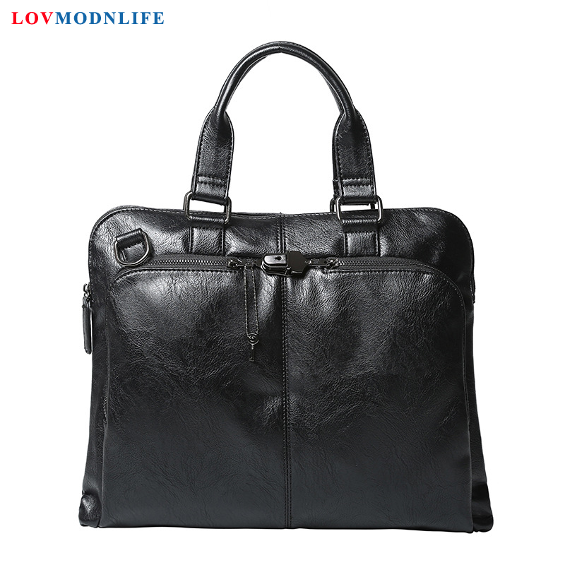 Office Tote Bags For Man Briefcases Casual Men's Large Leather Laptop Shoulder Bag Mens Business Handbag Messenger Bags 2019 New