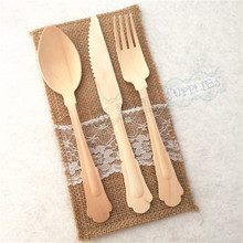 120pcs Heavy Weight Disposable Wooden Utensils Forks Spoons Knives Birthday Party Weddings Tablesettings