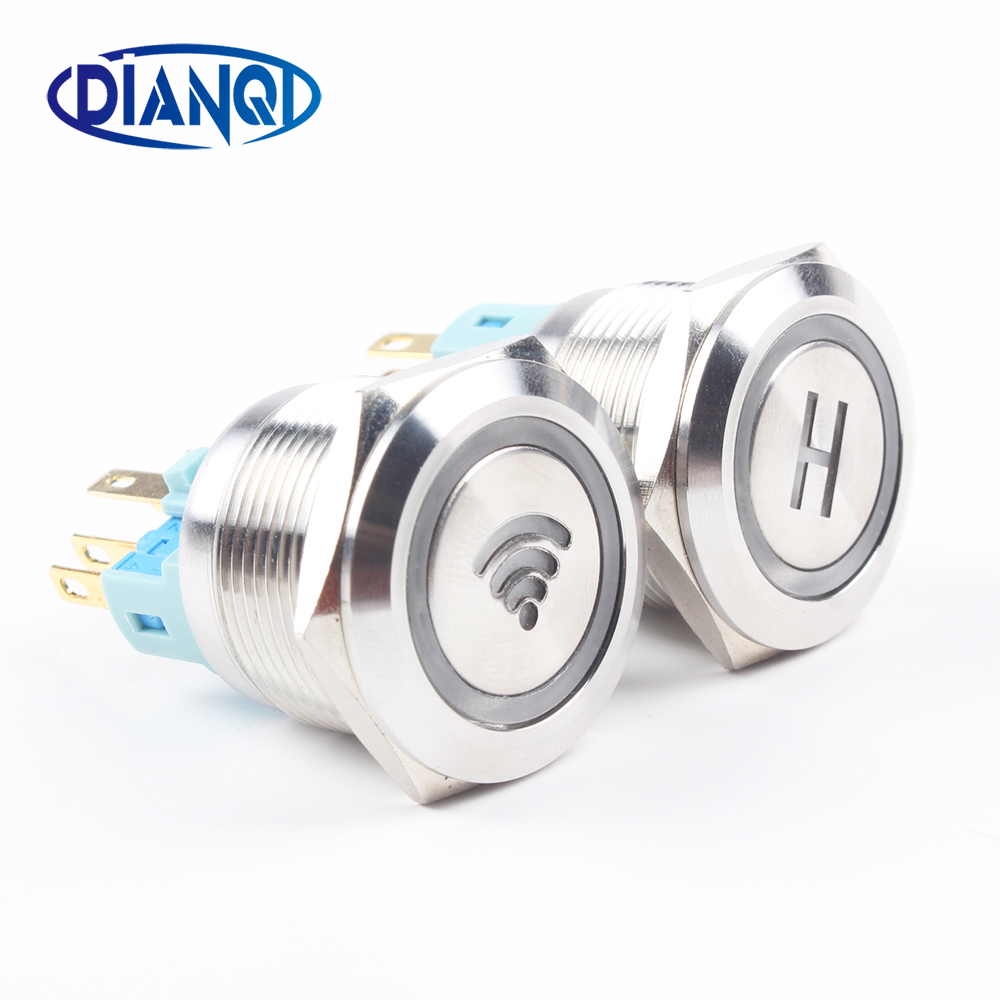 22mm Nickel plated brass metal push button switch led wi-fi number power word round momentary 6 pin terminal car switches 12mm metal push botton waterproof nickel plated brass domed push button switch 1no momentary reset screw terminal 12qx f l