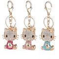New Arrival Hello Kitty Series Creative Rhinestone Keyrings Gold Plated  Imperial Crown KT Crystal Keychains Charm Women Jewelry