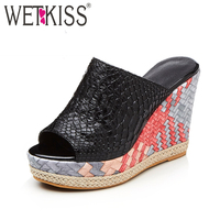 WETKISS Designer Shoes Women Mules Summer Slippers 11 cm Stitching High Wedges on Platform Sexy Peep toe Shoes Woman Slides