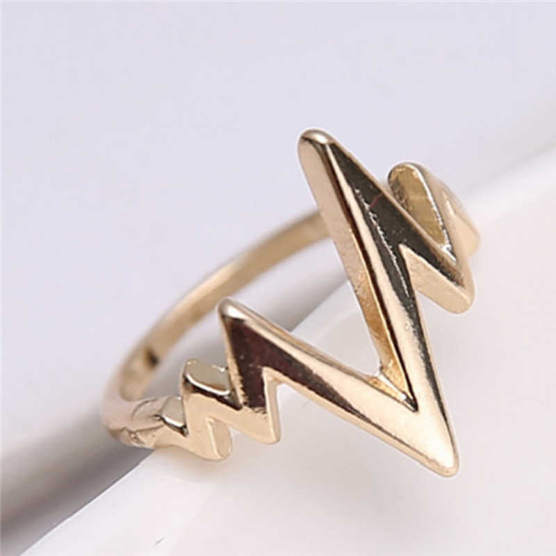 Hot 1 Pc Girls Fashion Simple Chic Lightning Design Rock Style Finger Rings For Women Jewelry Accessories
