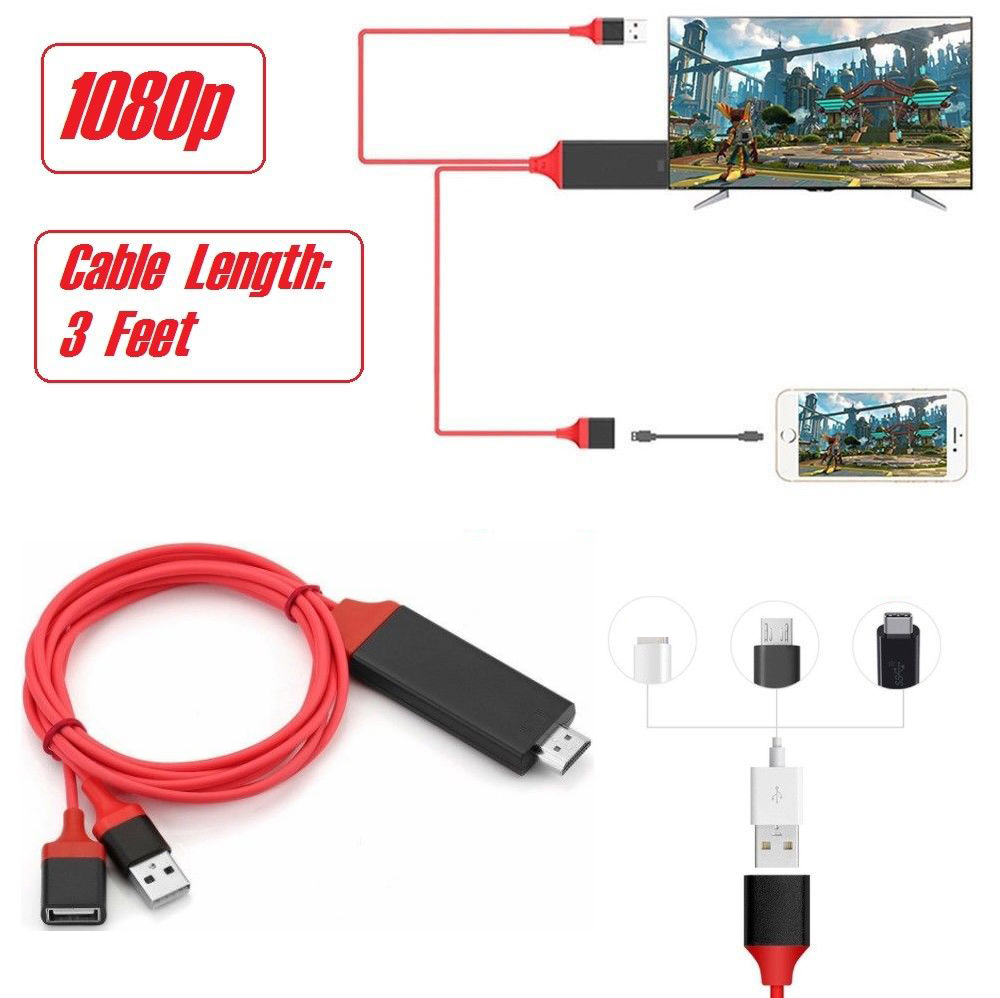 USB Female HDMI Cable HDTV Phone Adapter For IPhone XS MAX XR 6 7 8 Plus Samsung Galaxy S8 S9 S10 Note8 Note9 Android IOS To TV