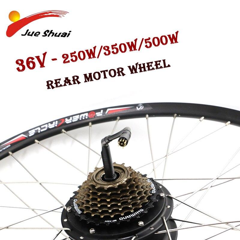 JS 36 V 250 W 350 W 500 W Kit de Conversion de vélo électrique roue de moteur arrière moteur sans balais pour 20 26 700C bicicleta electrica
