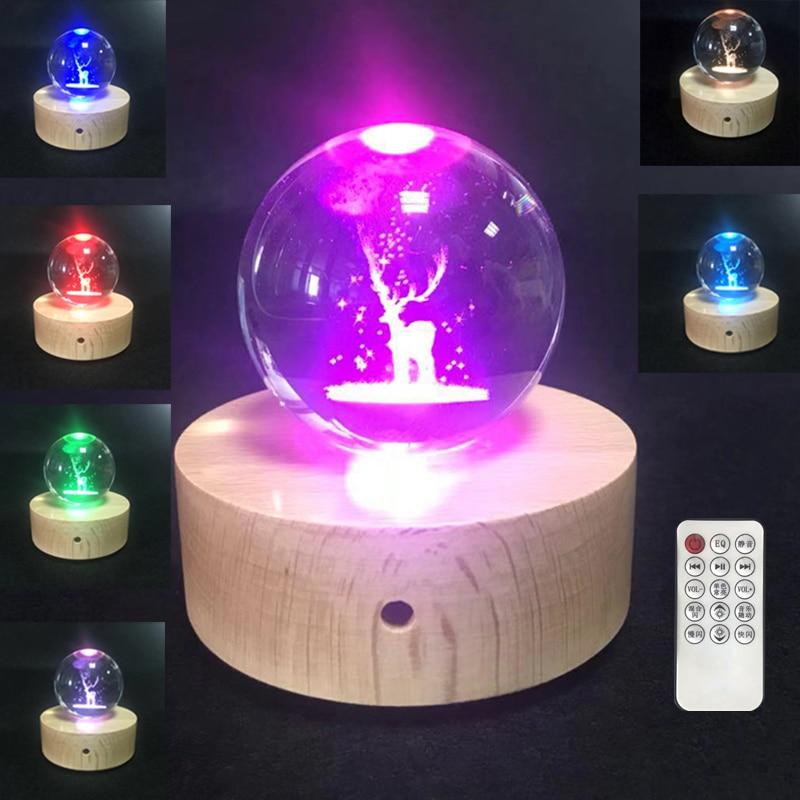 3D Boule de Cristal LED Night Light Musique Boîte Avec Projection Lampe En Bois Base Elk Ours Feuille De Pissenlit Forme D'anniversaire De Noël cadeau