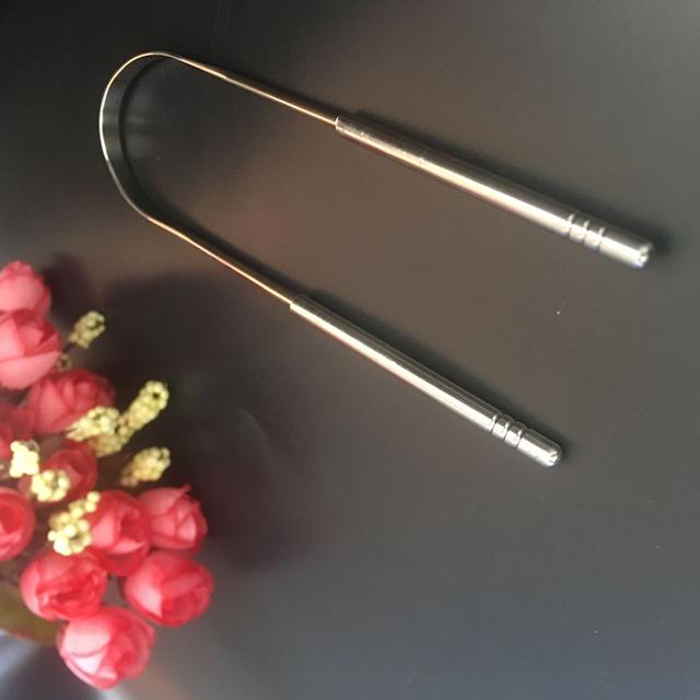 304 Stainless steel tongue applicator Dental Care Tongue Clean Tool Good Breath Cleaner Scraper Handle Hygiene Toothbrush