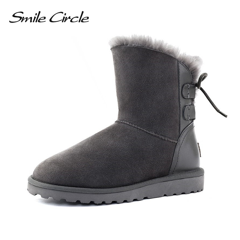 Winter Snow Boots 100% Australian Wool Classic Style Mujer Botas Women Boots Waterproof Genuine Sheepskin Leather Ankle Boots 02