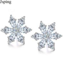 Jsping 925 Sterling Silver Flower Stud Earrings AAA Cubic Zirconia Christmas Snowflake Stud Earring For Women Girls Wedding Gift