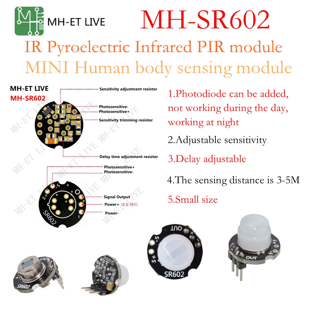 1X Mini IR infrarouge pyroélectrique PIR Body Motion Human Sensor Détecteur modup HT