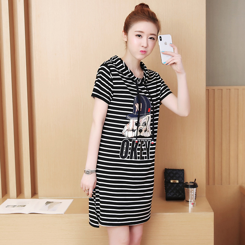 Plus Size 2018 New Summer Casual Short Sleeve Loose Print Striped In Long On Pure Cotton Clothes Blouse Shirt Black Stripe 8806
