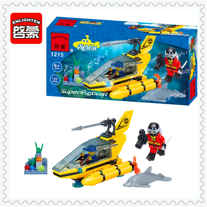 Submarine Dolphin Observation Model Building Block Toys Compatible Legoe ENLIGHTEN 1215 100Pcs Educational Gift For Children sluban 0372 block compatible legoe aviation city aircraft repair shop model 596pcs educational building toys for children